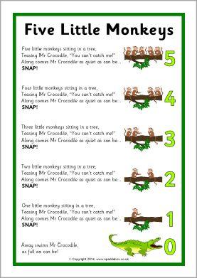 Five Little Monkeys Song Sheet Sb10880 Sparklebox