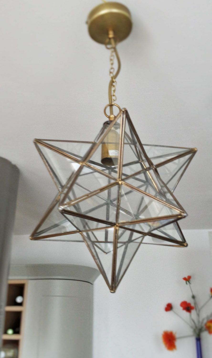 Glass Pendant Light Fixture Antique Brass Star Lantern Renovated Moravian Star Light Hanging Gl Glass Star Light Star Pendant Lighting Pendant Light Fitting