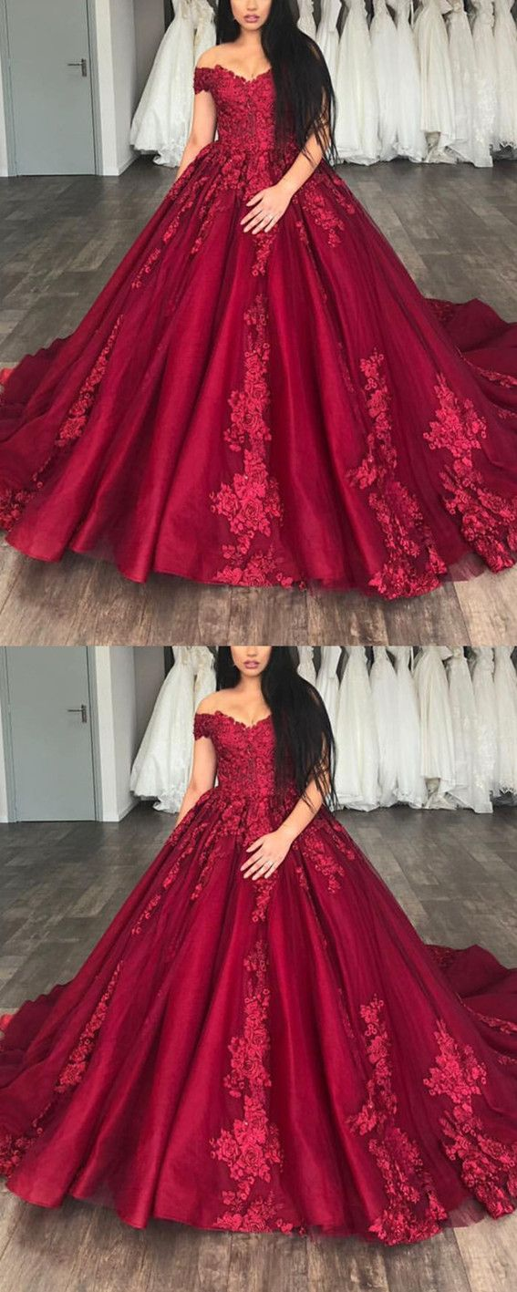 Lace appliques off shoulder organza and tulle quinceanera dresses