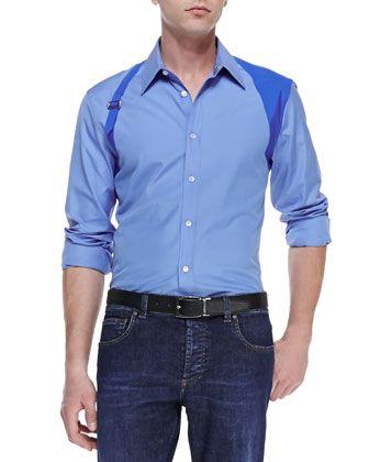 Alexander McQueen Contrast Harness Shirt & Stone-Wash Stretch-Denim