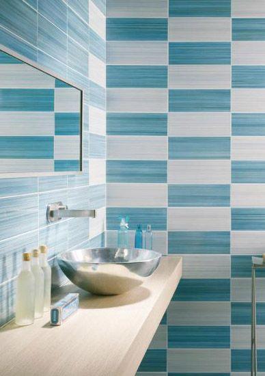 Modern Bathroom Tile Designs in Monochromatic Colors Blue walls