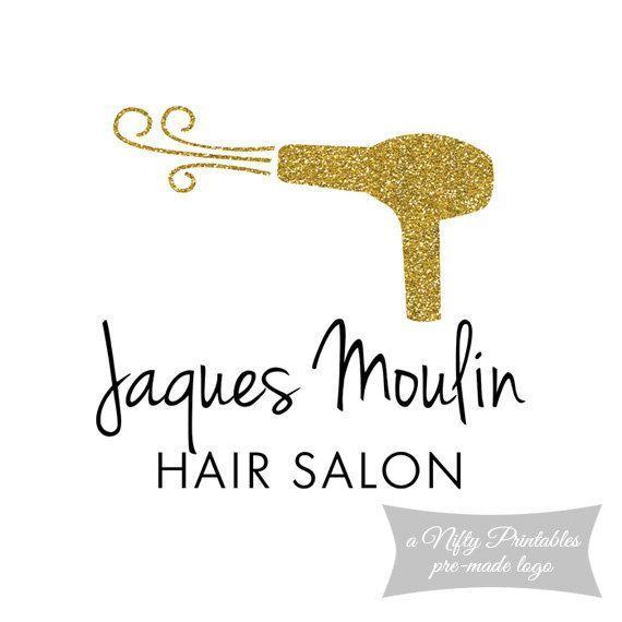 Gold Glitter Hair Salon Premade Logo By NiftyPrintables On Etsy Hairdresser Logos