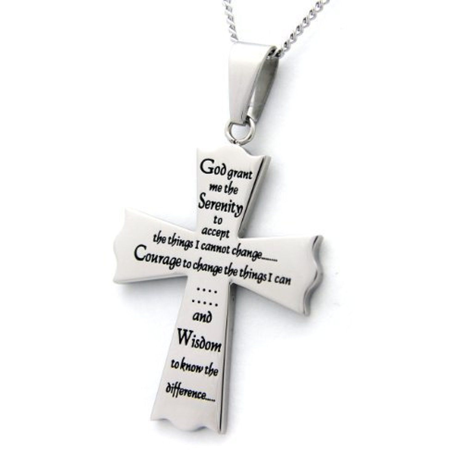 pendant necklace disc serenity stainless steel prayer