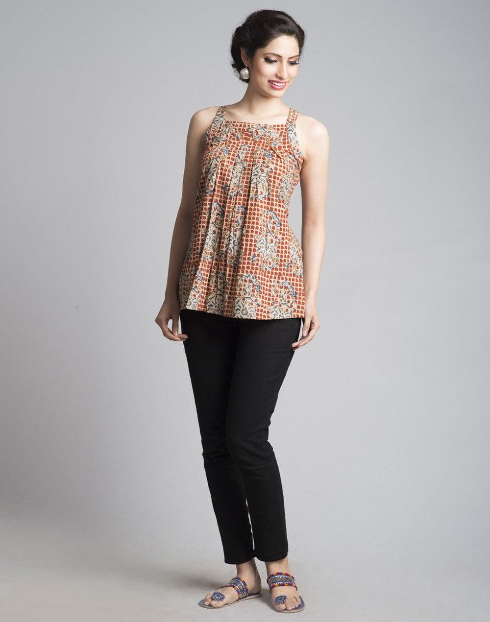 10866f5605 Cotton Kalamkari Pleats Top-Multi: Buy Fabindia Cotton Kalamkari Pleats Top-Multi  Online in India. – Fabindia.com