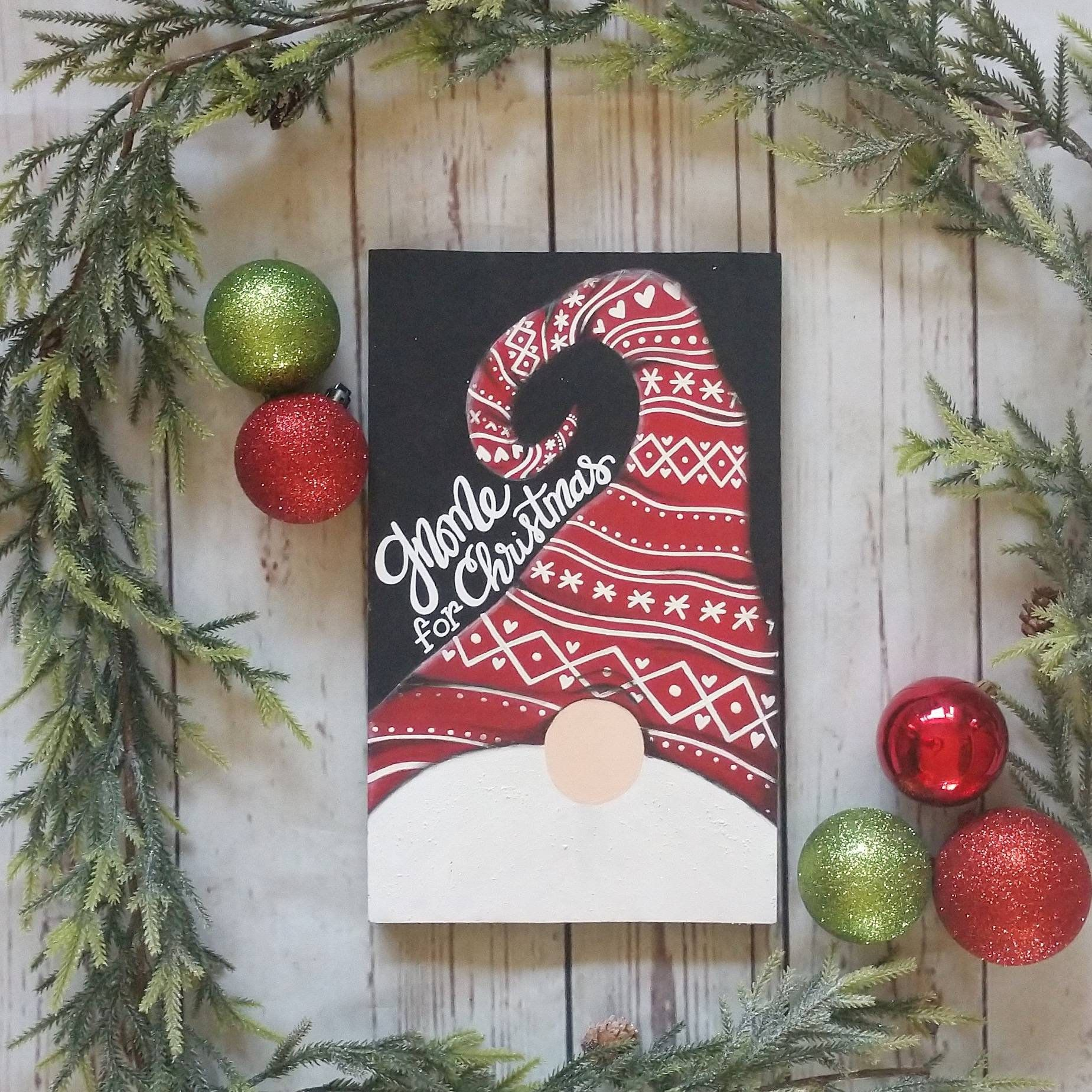 Gnome For Christmas Christmas Gnome Sign Christmas Decor Etsy Christmas Canvas Christmas Crafts Christmas Decorations
