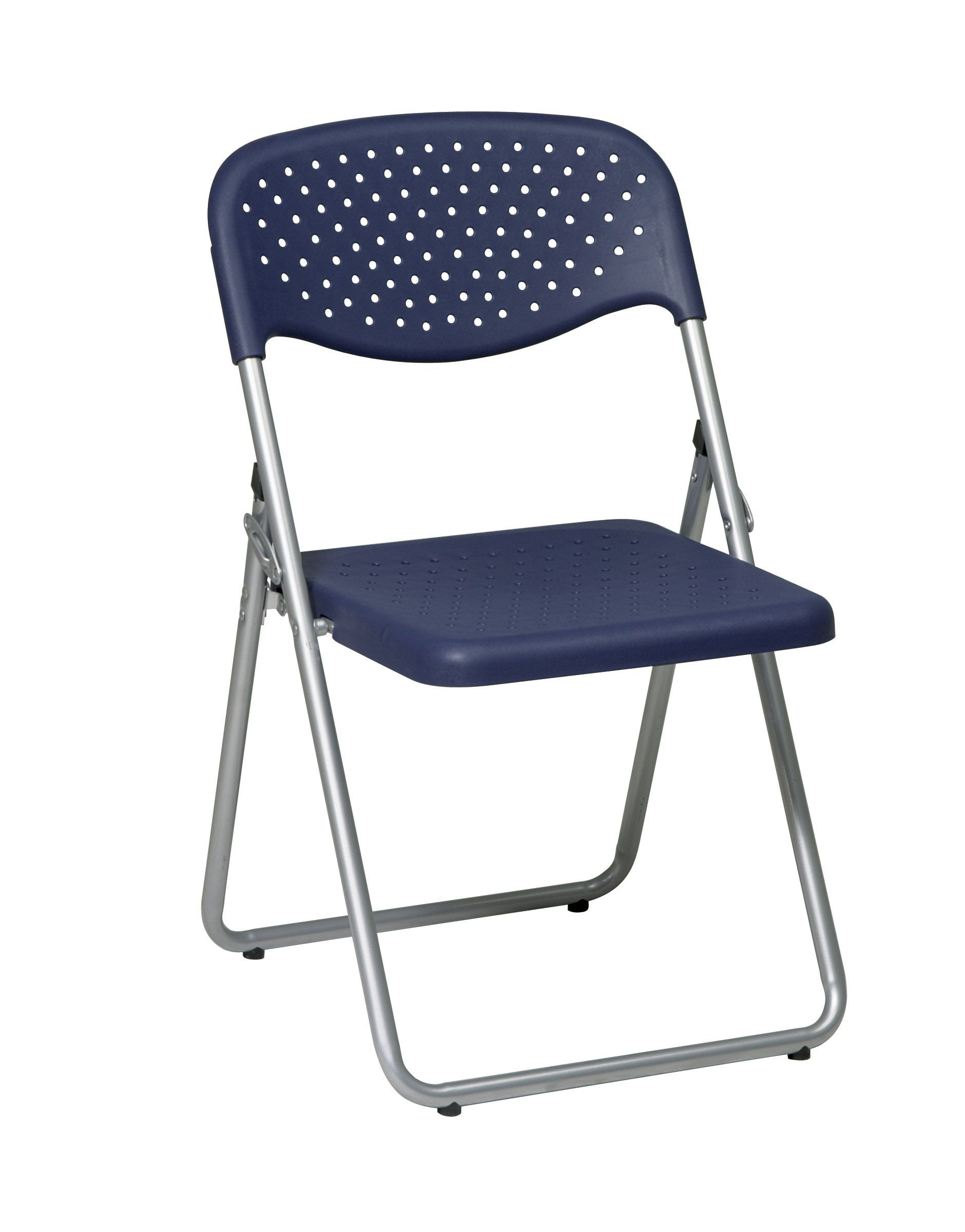 fice Star Sivler Black Folding Chair with Plastic Seat and Back