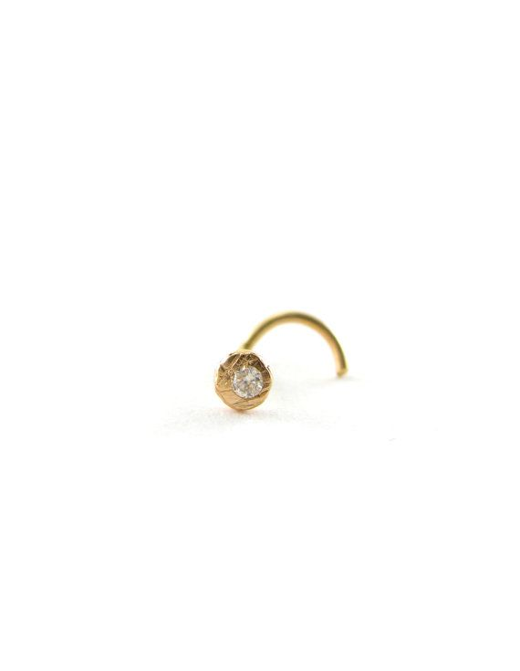 14 karat Solid yellow Gold and Recycled Diamond Pebble nose stud - 21 ga - handmade in San Francisco