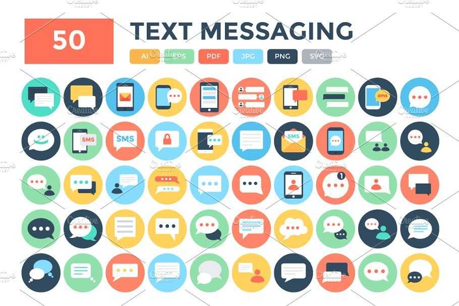50 Flat Text Messaging Icons #Flat#Text#Icons#Messaging | Tshirt