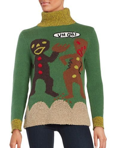 Whoopi Goldberg Gingerbread Men Turtleneck Ugly Christmas Sweater