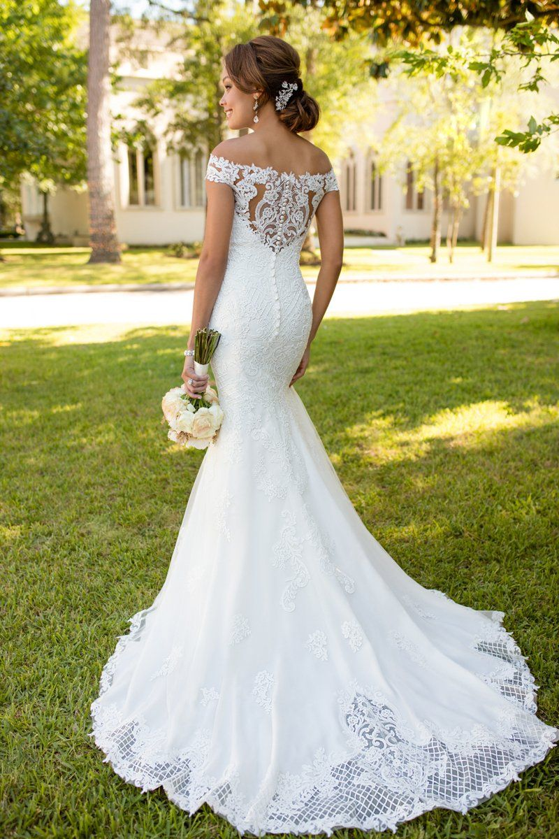 Fitandflare wedding dress idea offtheshoulder neckline with
