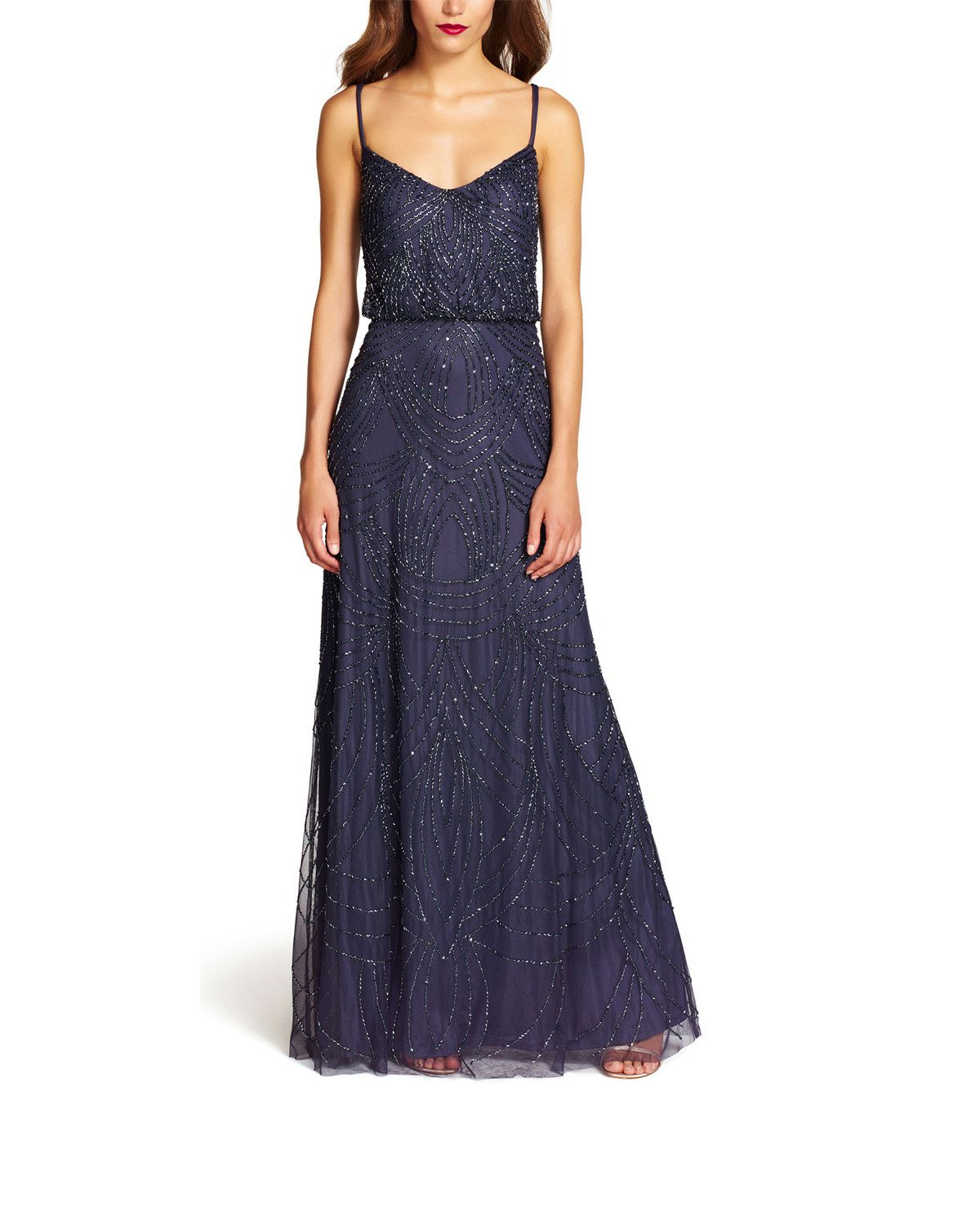 Adrianna Papell Beaded Blouson Gown in Gunmetal - Sample | Vestiditos