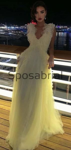 A-line Pastel Yellow V-Neck Tulle Modest Prom Dresses,Evening Dress PD2015 #modestprom