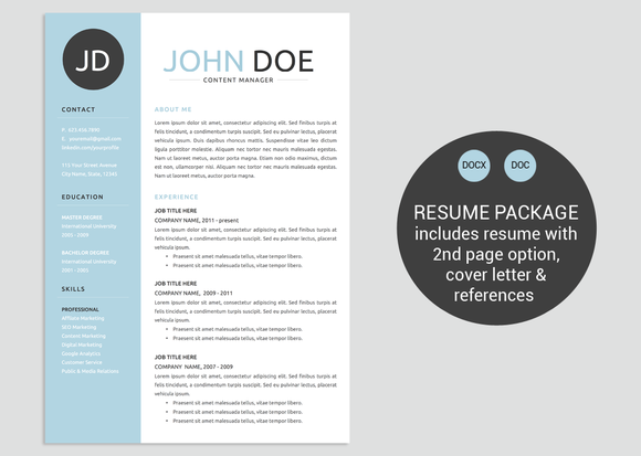classic blue word resume template by vandelay on creative market
