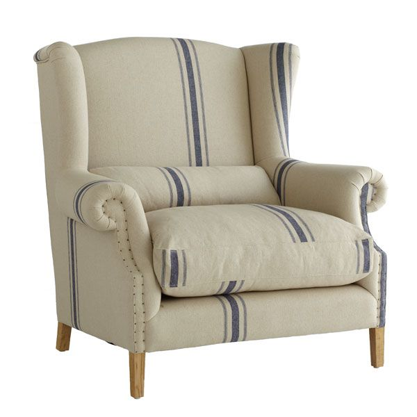 white and blue striped wing back chair cover french wingback chair