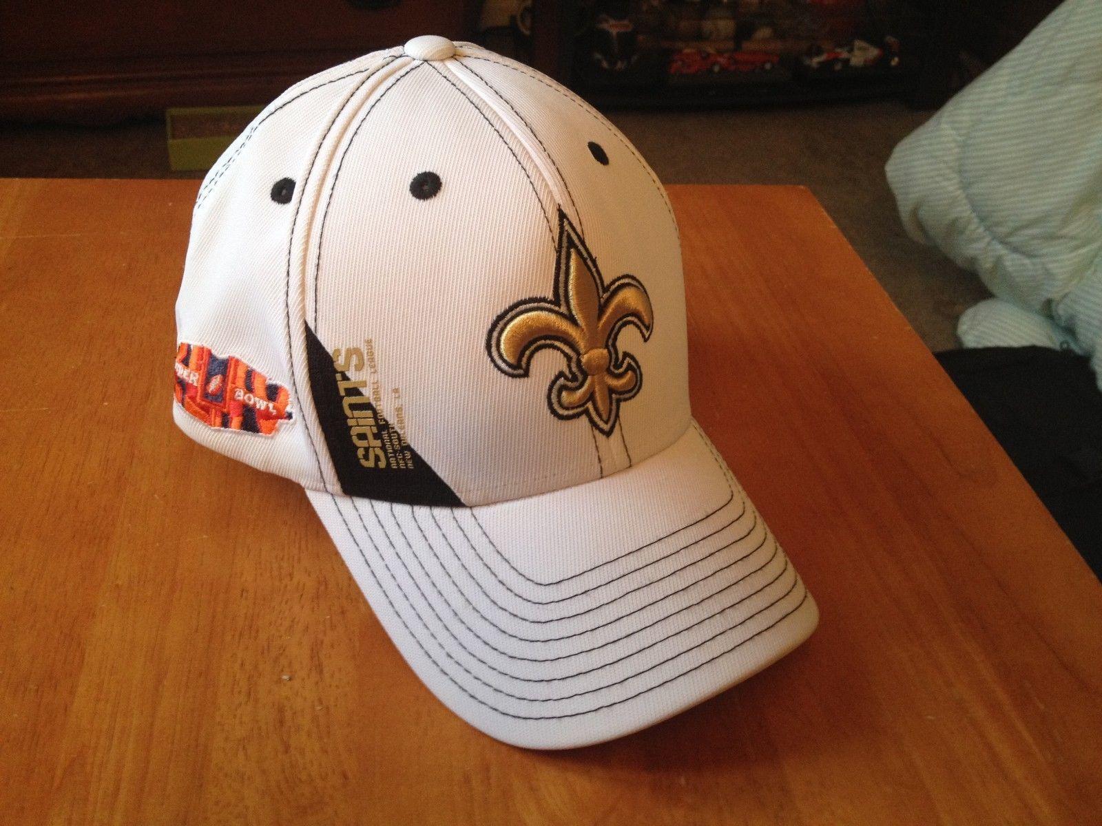 c032f75d1e1 VTG Reebok NFL New Orleans Saints Super Bowl XLIV flexfit sideline cap hat  L XL