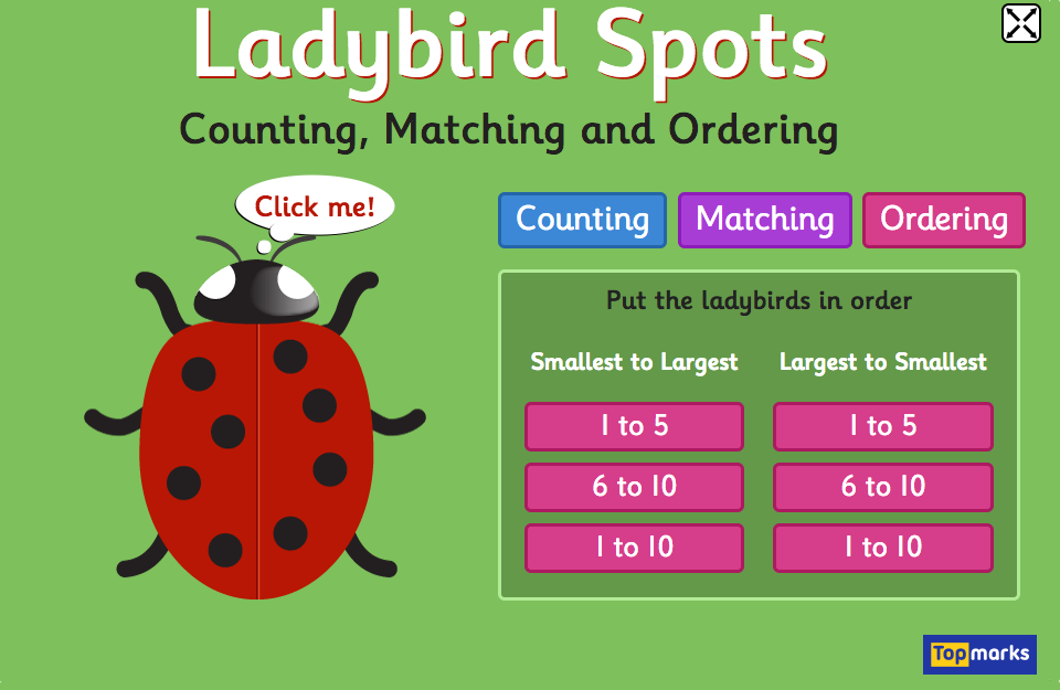 Ladybird Spots - Counting, Matching and Ordering game | Ladybird ...