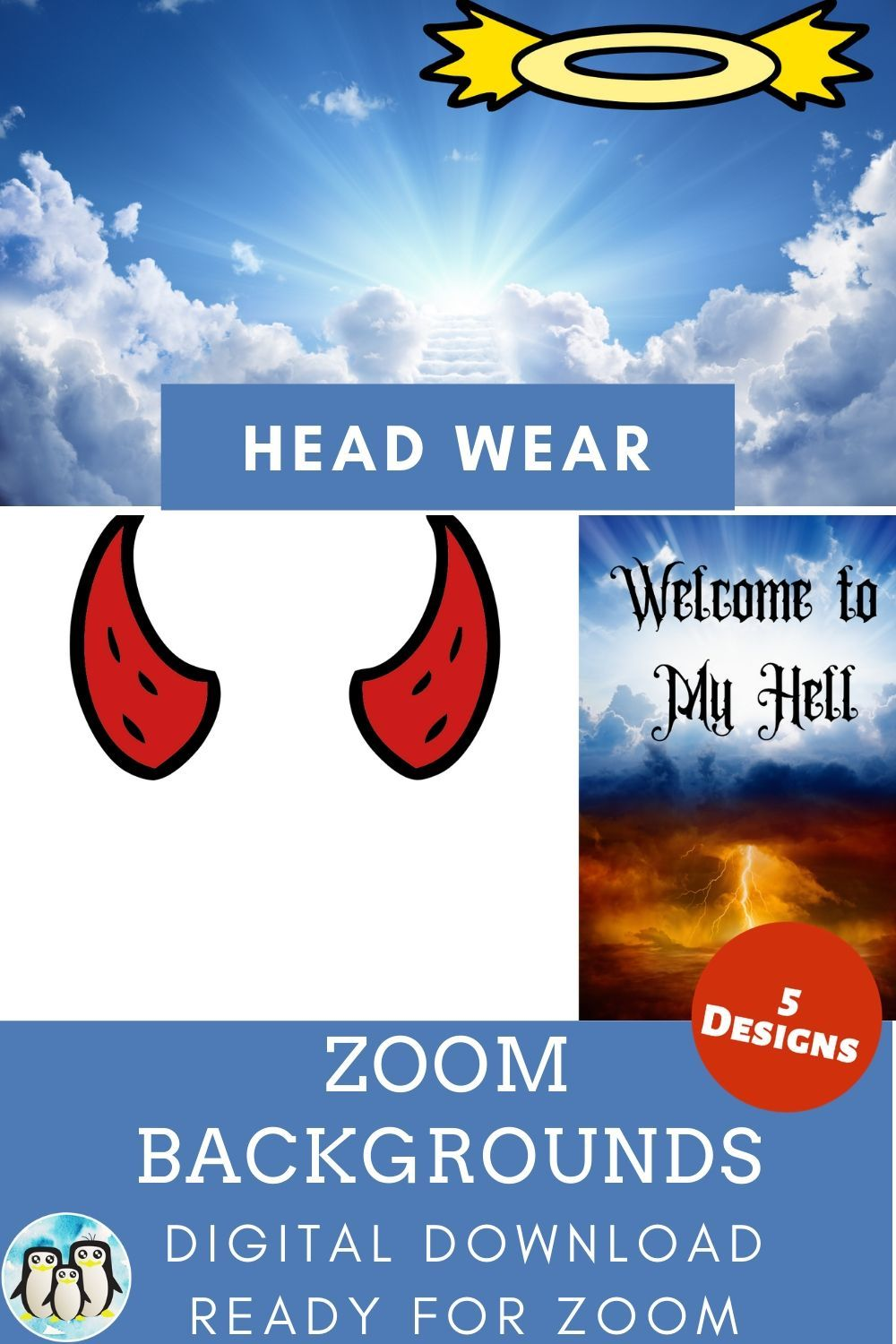 Zoom Backgrounds Of 5 Different Head Wear Images Cute Gifts For Friends Fun Call Background