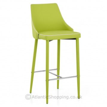 Upholstered In Funky Green Faux Leather Our Shelby Kitchen Stool