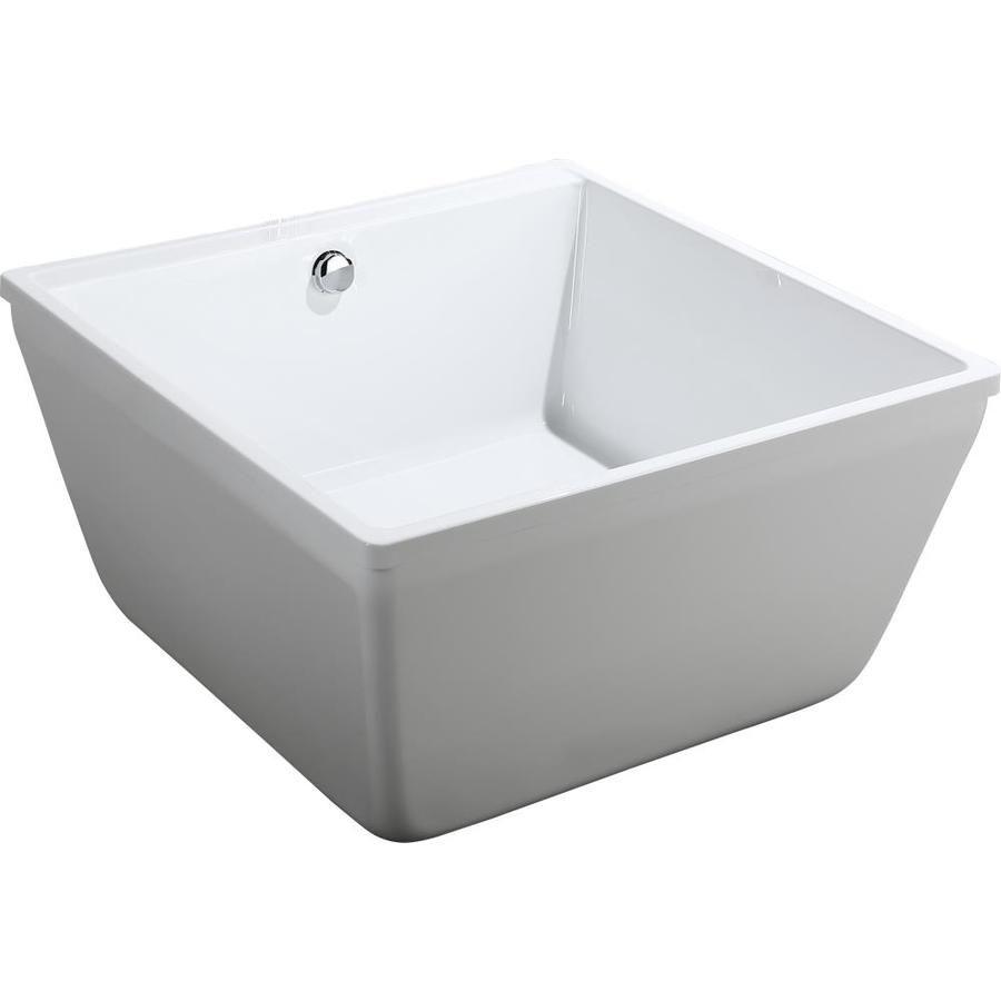 Bellaterra Home 47 2 In W X 47 2 In L White High Gloss Acrylic Square Center Drain Freestanding Bathtub L In 2020 Bellaterra Home Bathtub Design