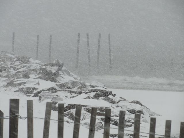 Snow covers the beach and jetty at 59th Street during a winter storm