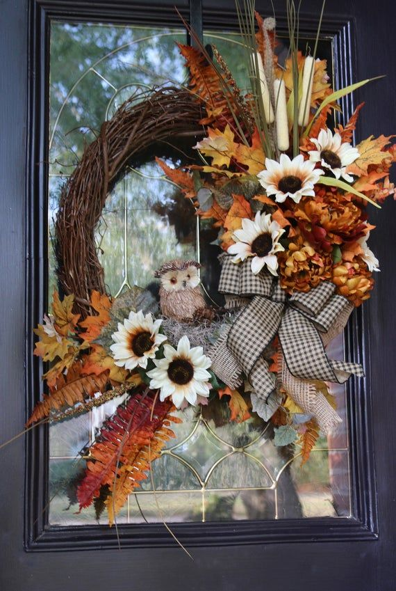 Photo of Items similar to Fall Wreaths for Front Door with Owl, Fall Sunflower Door Decor, Rustic Farmhouse Fall Wreath, Fall Door Wreath, Thanksgiving Decor on Etsy