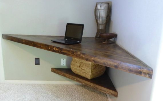 Floating Corner Desk Was Custom Made From All Wood Stained Using A Dark Walnut And Varnished With Floating Corner Desk Modern Corner Desk Large Corner Shelf