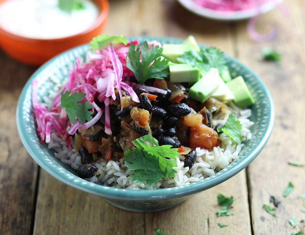 Black bean avocado burrito bowl recipe with images
