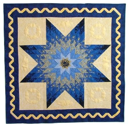Quilting Border Embroidery Designs : Advanced Embroidery Designs. Bethlehem Star Wall Quilt with machine Embroidery and ribbon border ...