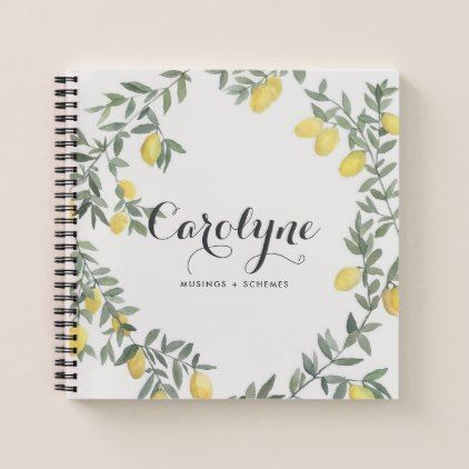 Boho Watercolor Lemon Wreath Personalized Notebook   Watercolor Gifts Style  Unique Ideas Diy