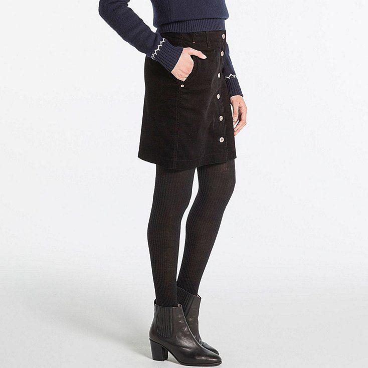 2fc9ae70a3 WOMEN IDLF CORDUROY MINI SKIRT Uniqlo, Waist Skirt, High Waisted Skirt,  Corduroy,