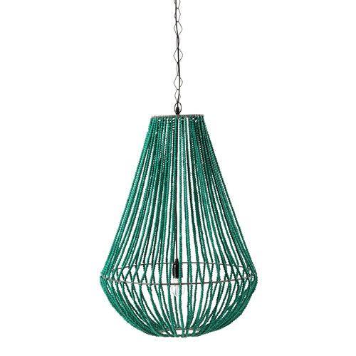 Lámpara de techo de metal y madera verde Ø 56cm APUCARANA