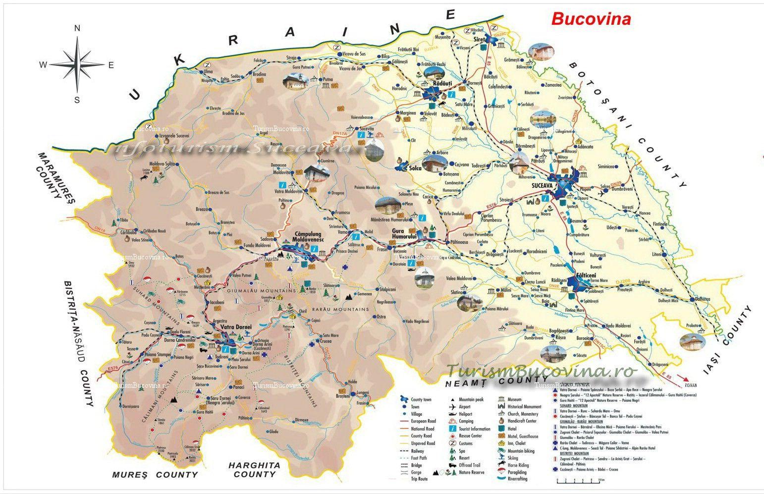 Harta Turistică A Bucovinei With Images Hartă Turism Hoteluri