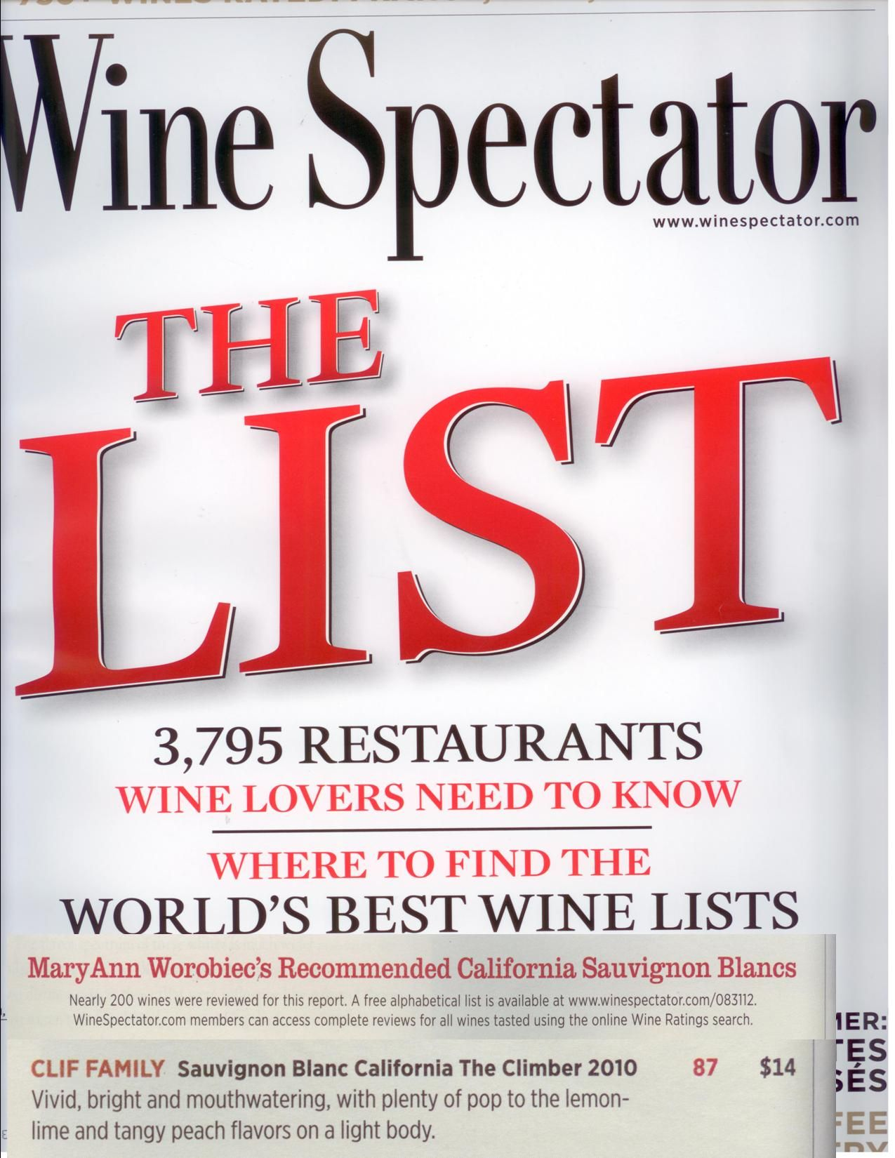 2010 Climber Sauvignon Blanc 87 Points And Top Buy For California Sauvignon Blancs From Eo Spectator Http Www Winespectato Wine Spectator Wine Wine List