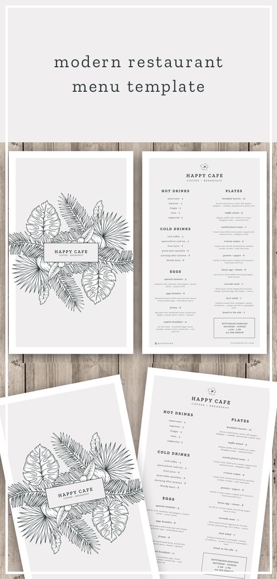 Modern Restaurant Menu Template  Hip Cafe Menu Design  Etsy