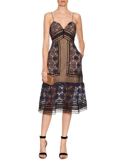Self-portrait Floral guipure-lace midi dress