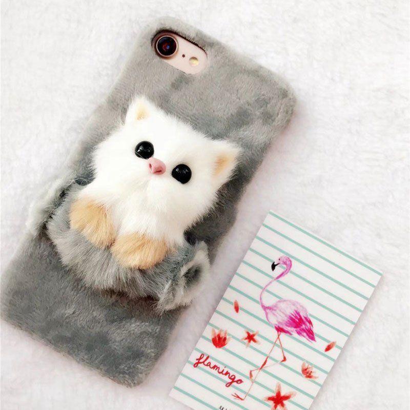 buy popular e4382 d4a53 3.79 GBP - Fur Cute Cat Case Cartoon Animal Cover Hybrid Fundas For ...