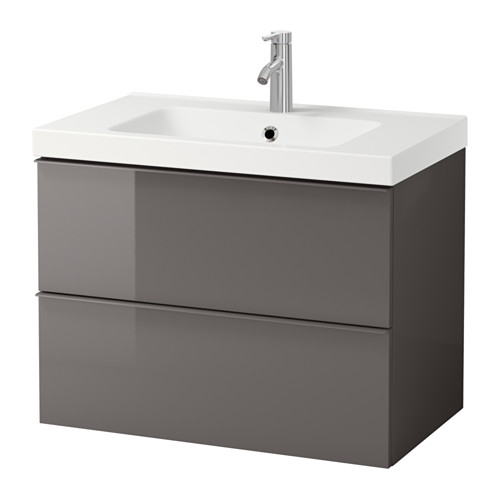 Ikea Bathroom Sink Cabinet. Godmorgon Odensvik Sink Cabinet With 2 Drawers Gray High Gloss Gray High Gloss Gray
