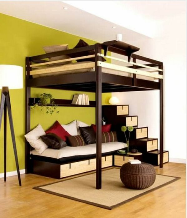 originelles hochbett f r erwachsene mit treppen hochbett. Black Bedroom Furniture Sets. Home Design Ideas