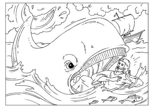 Coloring Page Jonah Img 26003 Bible Coloring Pages Sunday School Coloring Pages Whale Coloring Pages