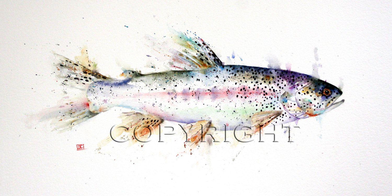 Forelle-Aquarell Fisch-Print von Dean Crouser von DeanCrouserArt