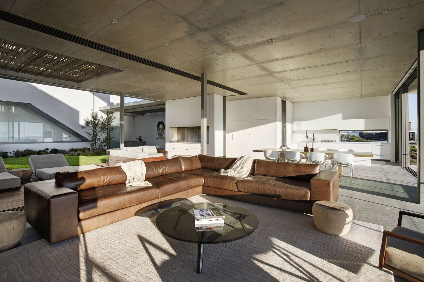Brown Leather Sofas, Glass Coffee Table, Open Plan Living Space, Holiday Home in Yzerfontein, South Africa