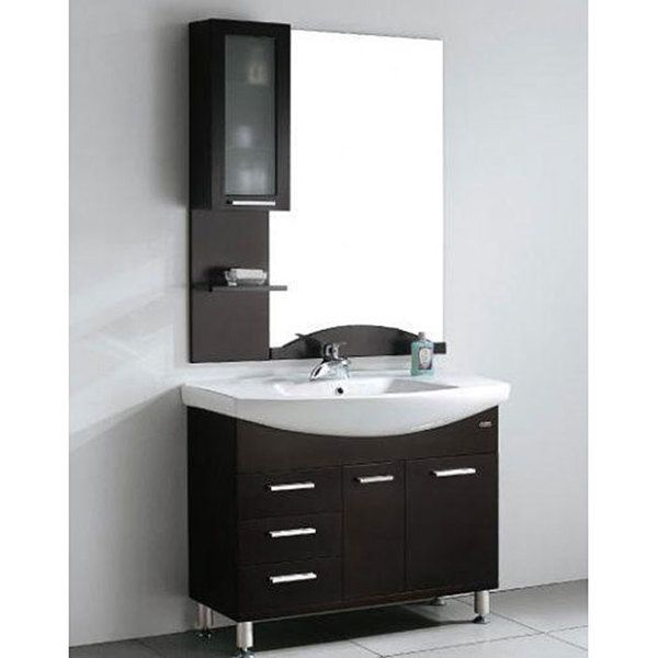 Design Element Serria Contemporary Bathroom Vanity W/ Side Cabinet Set    Overstock™ Shopping