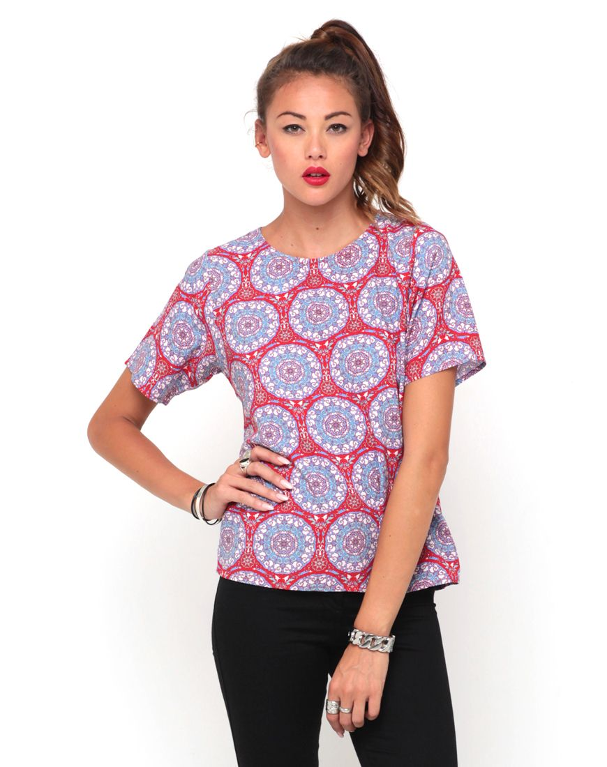 Motel Pacey T Shirt Blouse in Mandala Red - $70.00