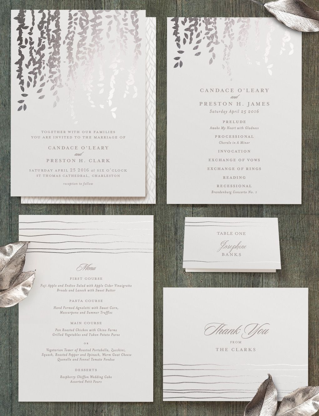 Cascading Botanical Wedding Invitation From Minted Artist Lori