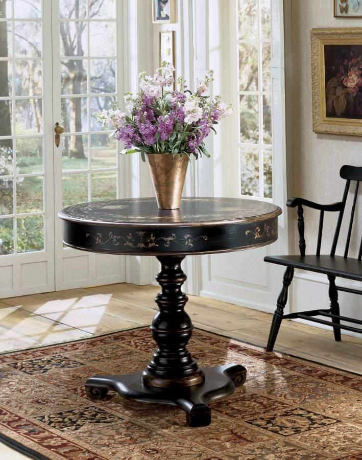 Images Of Butler Unique Round Hand Painted Wood Foyer Table Accent In  Wallpaper