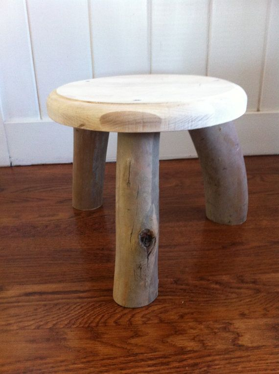 Terrific Wooden Stool With Natural Eucalyptus Branch Legs And A Round Machost Co Dining Chair Design Ideas Machostcouk