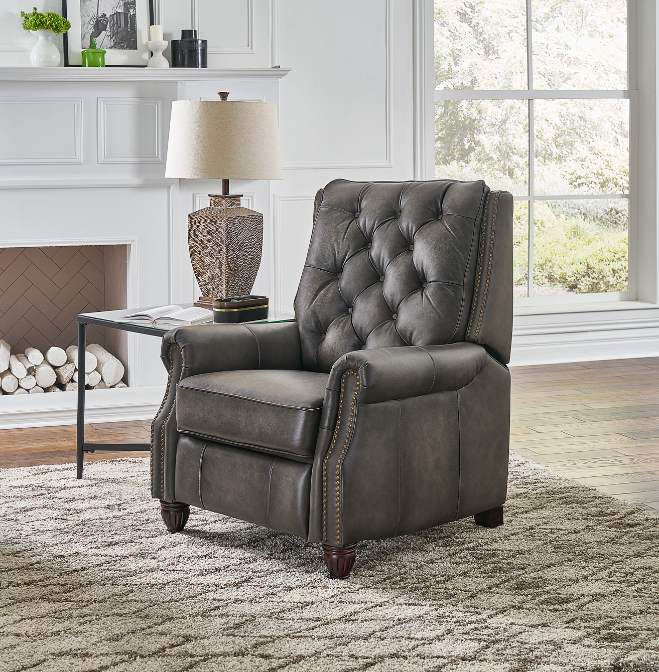 Luxurious Leather Recliner, Gray Recliner chair, Leather