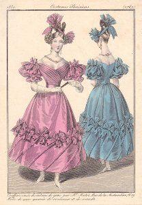 Coiffure de 1830 Gravures de mode, Mode victorienne, Costume
