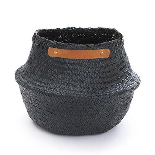 Large Leather Handle Belly Basket - Black