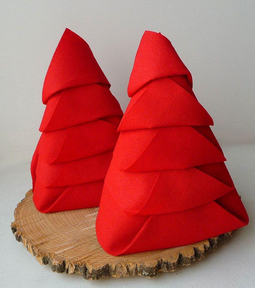 Pliage De Serviette De Table En Forme De Sapin De Noël, Plier Une Serviette  De